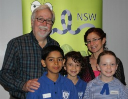 Duncan and Deborah Abela and children at the Premier's Reading Challenge